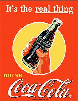 Reproduction Coca-Cola It's the Real Thing Retro Advertising Tin Sign