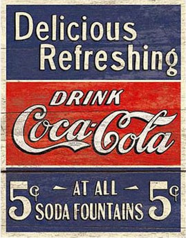 Coca Cola Delicious 5 Cents Metal Sign