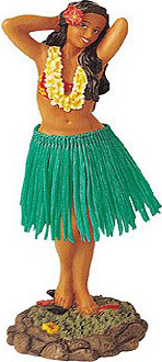 Posing Dashboard Hula Doll Green Skirt