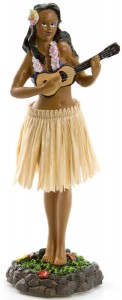 Ukulele Girl Dashboard Hula Doll Tan Skirt