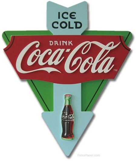 Coca-Cola Wood Triangle Sign
