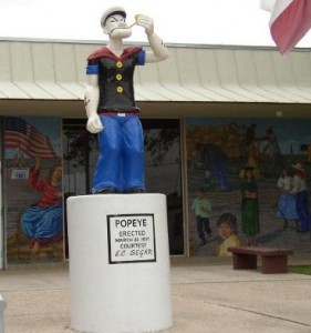 Popeye Statue in Crystal City, TX