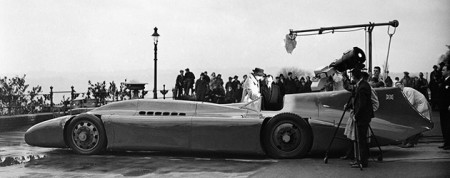 Sir Martin Campbell with Rolls Royce Bluebird