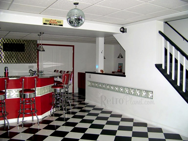 Captivating The Bar Features V Back Bar Stools. And What Basement Diner Wouldnu0027t Be  Complete Without A Disco Ball?
