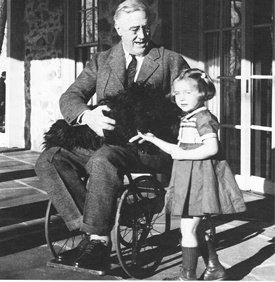 President Franklin D Roosevelt in wheelchair