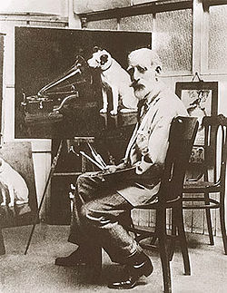 Francis Barraud with his painting of Nipper