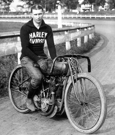 Ralph Hepburn on a Harley, 1922
