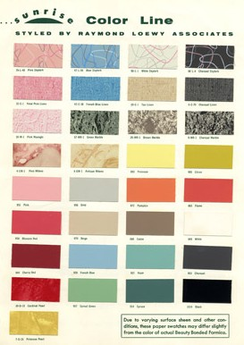 Colors From The Formica Sunrise Collection (1953)