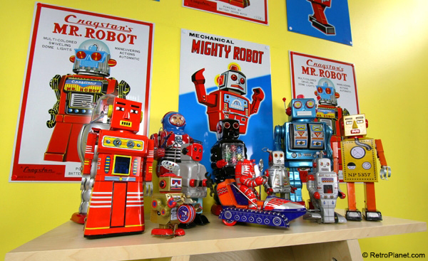 Vintage Style Tin Toy Robots and Signs