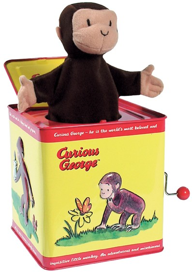 jack in the box toy. since the 1930s many variations of jack-in-the-box have been introduced. here, curious george pops out during \u201cpop goes weasel\u201d. jack in box toy