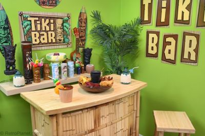 completed tiki bar in the home - Retro Decorations For Home