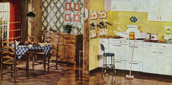 Bright Yellow Retro Kitchen