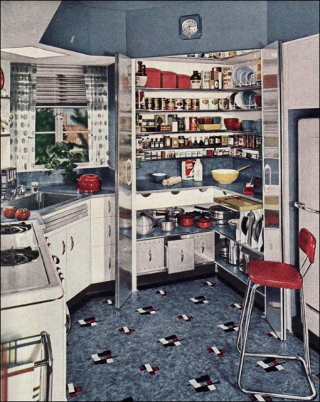 1940s blue kitchen with linoleum flooring