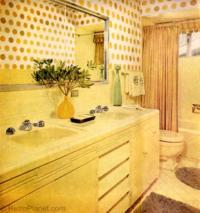 Bright Yellow 1960s Bathroom Design