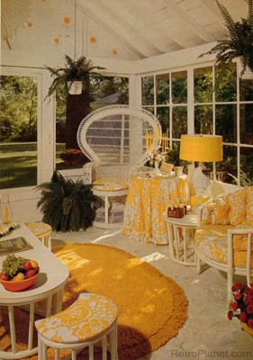 Yellow was a popular color in the 1970s, as represented in this porch.