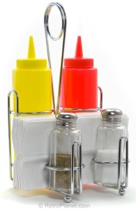 Condiment Containers with Holding Rack