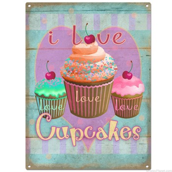 I Love Cupcakes Tin Sign