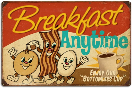 Breakfast Anytime Large Metal Sign