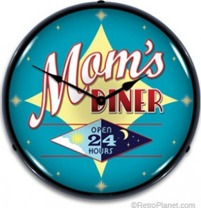 Mom's Diner Lighted Clock
