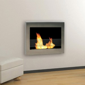The SoHo Ventless Stainless Steel Wall Mount Fireplace