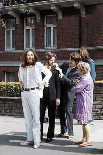 The Beatles Readying to Cross Abbey Road