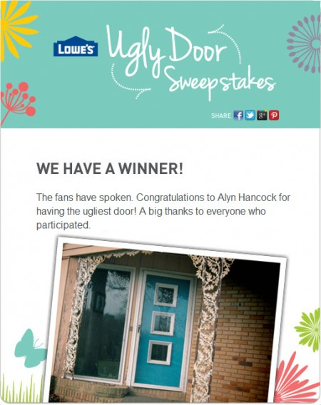 Lowe's Facebook Announcement of the Ugly Door Winning Entry
