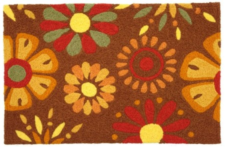 Fall Colors Flower Welcome Mat