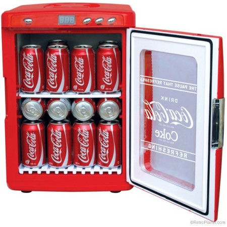 Portable coca cola fridges retro style functionality for Coke can heater