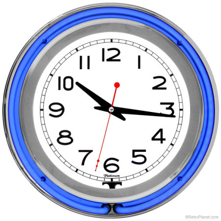 Blue Double Ring Chrome Neon Clock