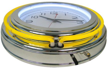 Yellow Double Ring Chrome Neon Clock