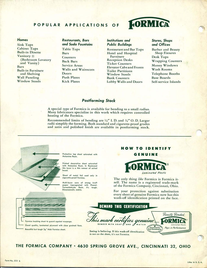 Formica Applications and Trademark Page