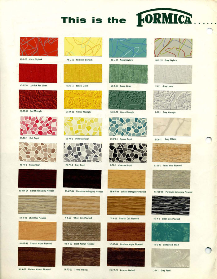 1950s Formica Sunrise colors and patterns