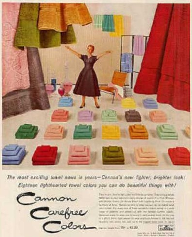 Cannon Carefree Colors 1950s ad