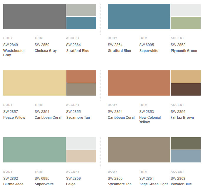 Sherwin-Williams Suburban Modern Exterior Colors