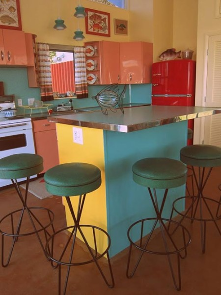 Image of retro kitchen in pool house
