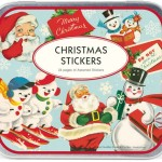 Tin of Retro Holiday Stickers