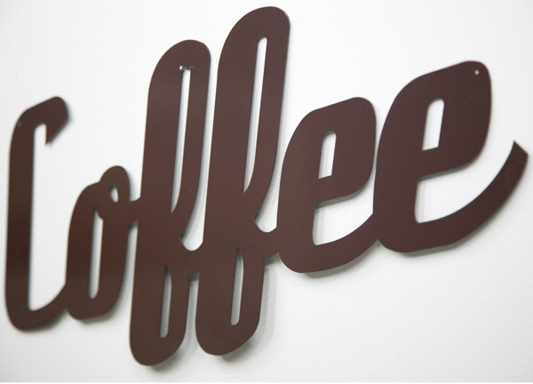 Coffee Large Script Metal Sign