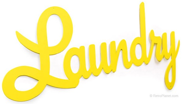 Small Laundry Yellow Script Sign