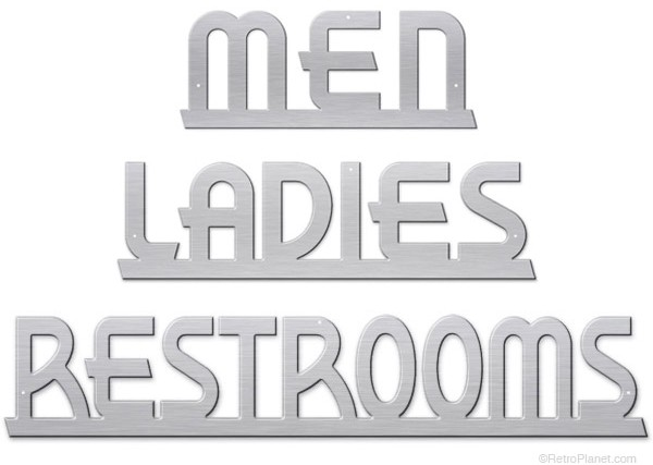 Bathroom signs in brushed aluminum.