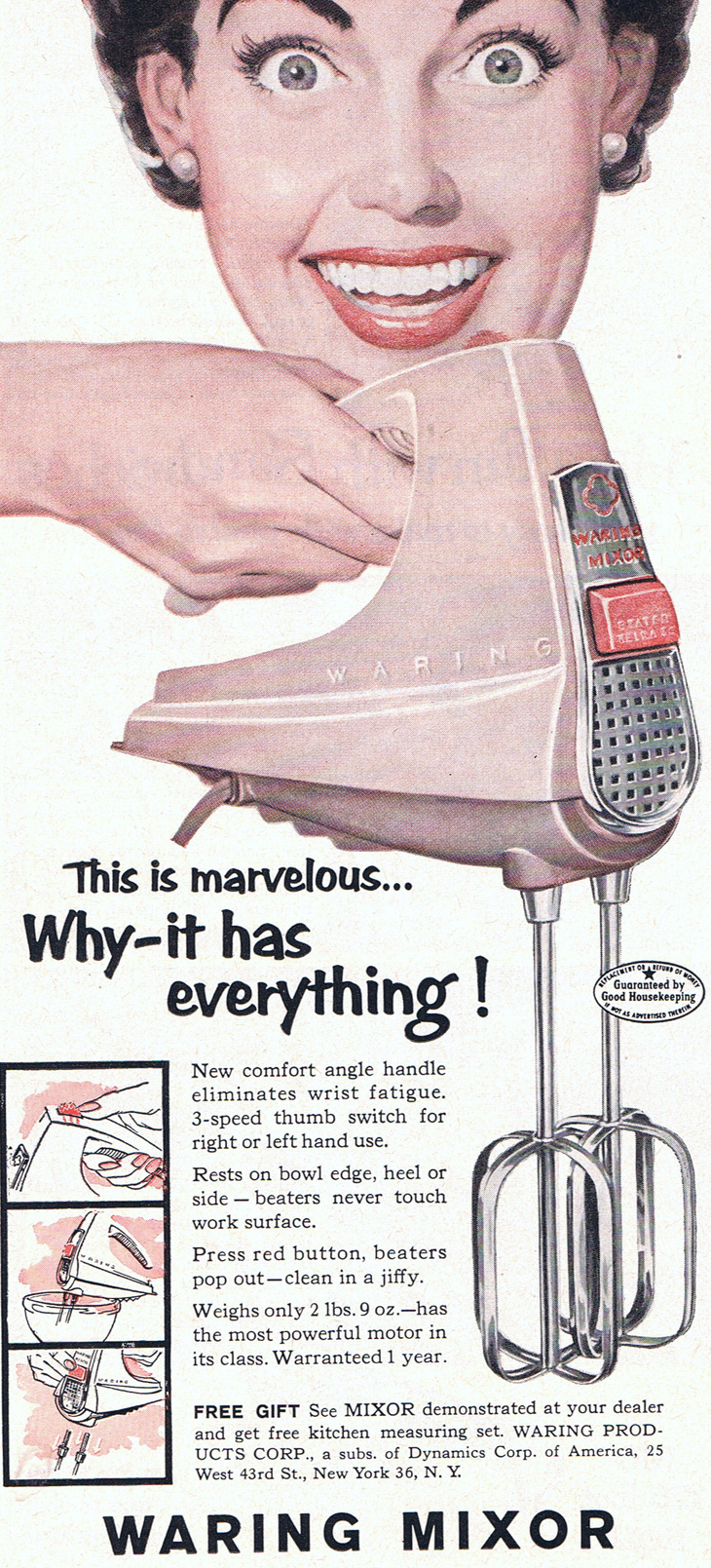 Retro pink Waring Mixor ad from 1955