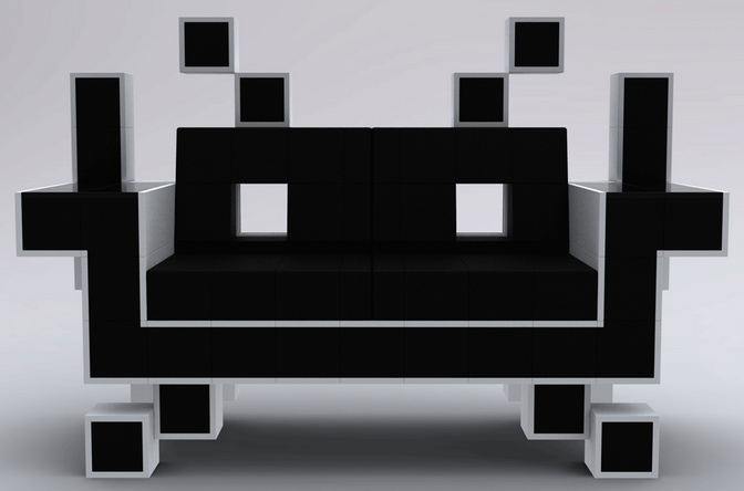 a space invaders couch. Black Bedroom Furniture Sets. Home Design Ideas