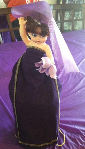 Bride made from Crown Royal bottle