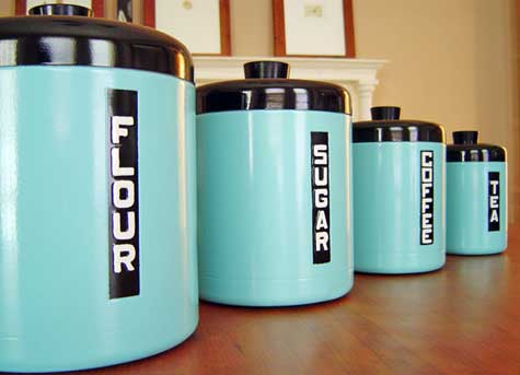 Newly painted retro designed canisters.