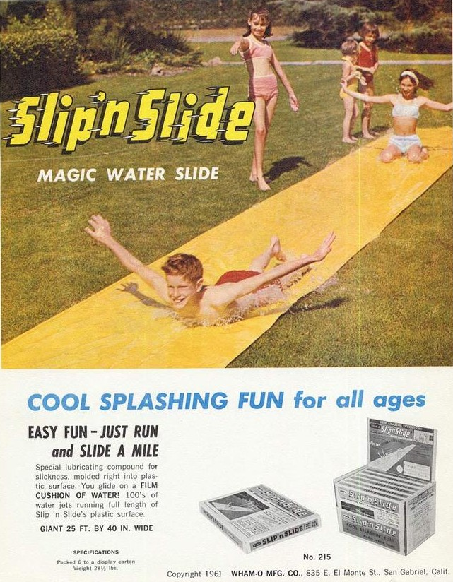 Vintage 1960s ad for Slip 'n Slide