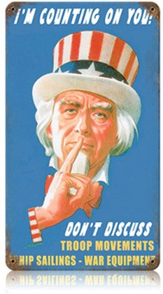 Uncle Sam Say Nothing Sign