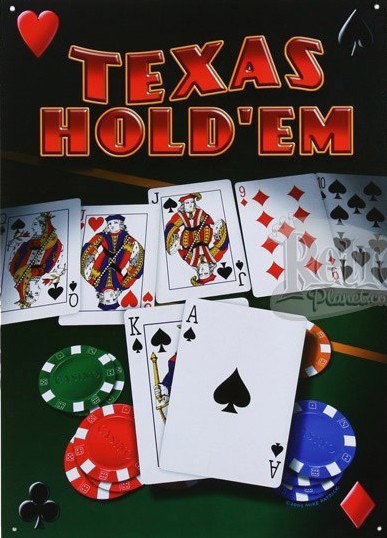 Texas Hold'Em Metal Sign