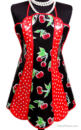 Cherries Oilcloth Apron