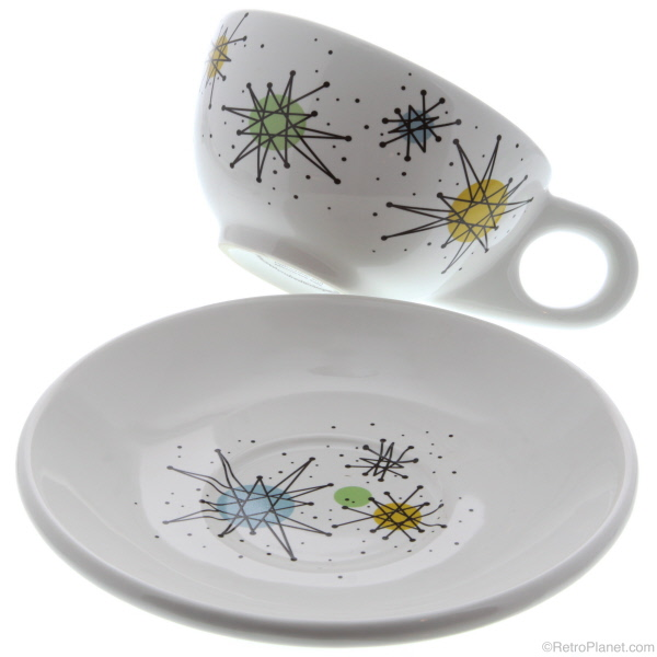 1950s Style Atomic Cup and Saucer  sc 1 st  Planet Retro - Retro Planet & Atomic Dinnerware - Sputnik Designed Plates Bowls and Glassware