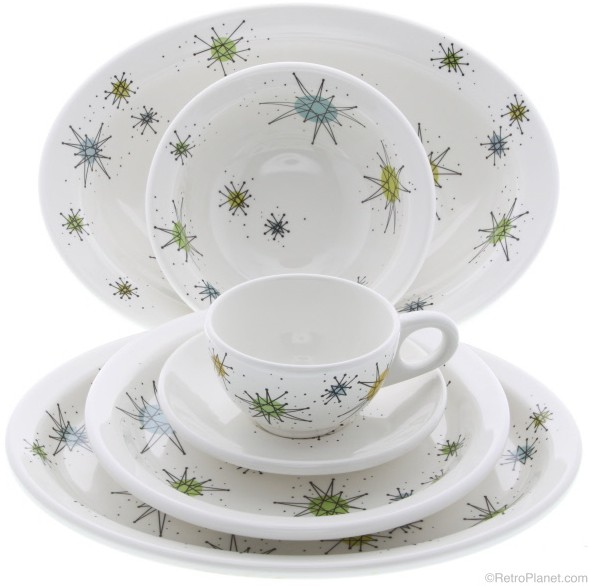 Atomic Dinnerware Set with Diner Coffee Cup u0026 Saucer  sc 1 st  Vintage Vending - Retro Planet & Atomic Dinnerware - Sputnik Designed Plates Bowls and Glassware