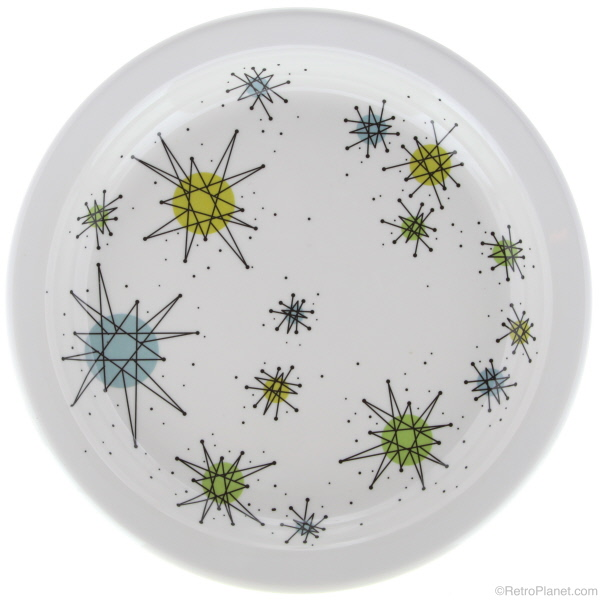 Atomic Design Salad Plate  sc 1 st  Planet Retro - Retro Planet & Atomic Dinnerware - Sputnik Designed Plates Bowls and Glassware